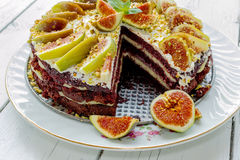 Cake with figs Stock Photos