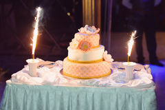 Cake with Firework Sparkle on Table Royalty Free Stock Photography