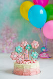 Cake for first birthday Stock Photography