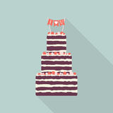 Cake Flat Icon With Long Shadow. Open Pie Royalty Free Stock Photos
