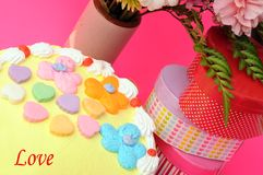 Cake, flower and gift box Stock Photography
