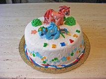 Cake fondant little pony. For girl royalty free stock photography