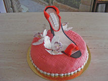 Cake fondant shoe. Cake fondant with shoe fondant Royalty Free Stock Photos