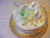 Cake fondant with swan. And fondant flower Stock Photo