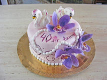 Cake fondant for 40 wedding anniversary. Cake fondant for wedding anniversary Stock Images
