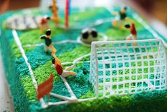 Cake with footbal playground Stock Photo