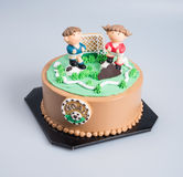 Cake or Football cake on a background. Royalty Free Stock Photo