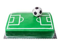 Cake for football player, soccer field and ball. Stock Photography