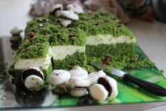 Cake forest undergrowth. Cake called forest undergrowth with spinach and meringues Stock Images