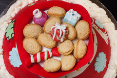 Cake in the form of a bag with gifts from Santa Claus. Christmas Royalty Free Stock Photography