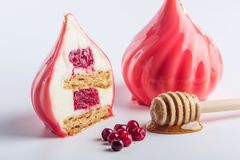 Cake in the form of a dome covered with red glossy glaze with cranberries and honey cake inside. Concept design desserts. Cake in the form of a dome covered with royalty free stock images