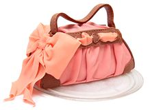 Cake in the form of a female bags marzipan Royalty Free Stock Images