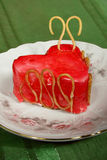 Cake in form of a heart. Valentine strawberry cake in form of a heart royalty free stock photos