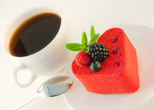 Cake in the form of heart, a blackberry Royalty Free Stock Photo