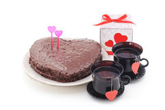 Cake in the form of heart. Royalty Free Stock Images