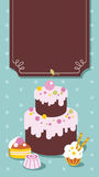Cake Frame. Frame for the menu with a cake in cartoon style Stock Images