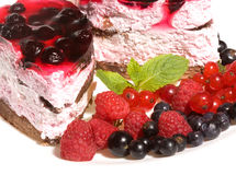 Cake with fresh berries Stock Photos