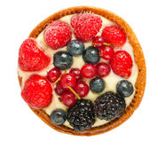 Cake with fresh berries top view Royalty Free Stock Photo