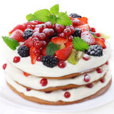 Cake with fresh berry Stock Photos