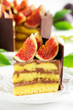 Cake with fresh figs. Chocolate cake with fresh figs Stock Photo