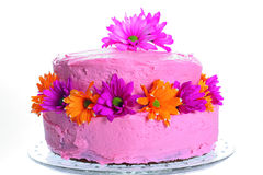Cake with fresh flowers Stock Photo