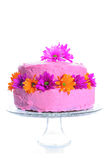 Cake with fresh flowers vertical. Shot of a cake with fresh flowers vertical Stock Photos