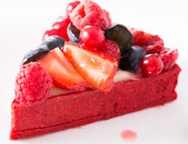 Cake with fresh forest berries. Delicious cake with fresh forest berries stock photo