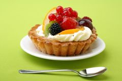 Cake with fresh fruits Royalty Free Stock Image