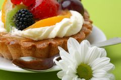 Cake with fresh fruits Stock Photo