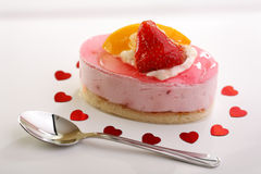 Cake with fresh fruits for Valentine Stock Image