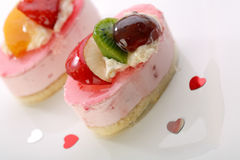 Cake with fresh fruits for Valentine Stock Photography