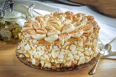 Cake. Fresh meringue cake close up Royalty Free Stock Images