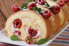 Cake with fresh raspberries and mint horizontal Stock Photos