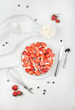 Cake with fresh strawberries Royalty Free Stock Images