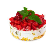 Cake with fresh strawberries Stock Images