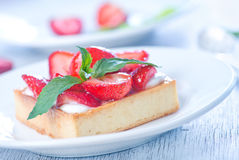 Cake with fresh strawberry Stock Photo