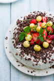 Cake with fresh strawberry. Top view Royalty Free Stock Photos