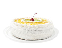 Cake with fruit. On a white background stock photography