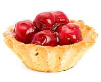 Cake with Fruit. Cherry isolated on white background stock photography