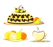 Cake with fruit on dish and cup. Cake with fruit on colored dish and cup Royalty Free Stock Photo
