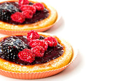 Cake with fruit and jelly and text. Close-up Royalty Free Stock Photos