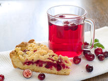 Cake and fruit tea Stock Images