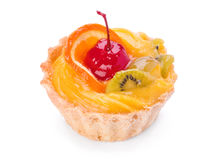Cake with fruit on white Stock Images