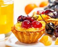 Cake, fruits and juice Stock Photo