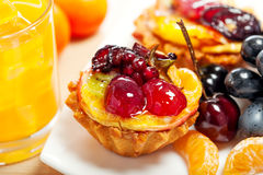 Cake, fruits and juice Stock Photography