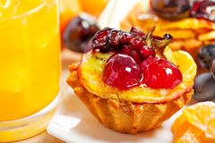 Cake, fruits and juice Stock Images