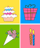 Cake and gift Royalty Free Stock Photo