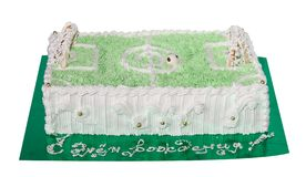 Cake gift. Cake in the form of a soccer field (Objects with Clipping Paths Stock Photos