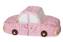 Cake gift. Cake in the form of car (Objects with Clipping Paths Royalty Free Stock Photos