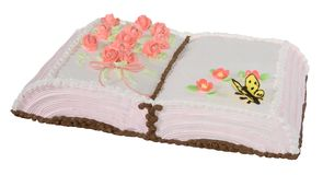 Cake gift. Cake in the form of book (Objects with Clipping Paths Royalty Free Stock Photo